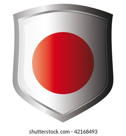 japan vector illustration flag on metal shiny shield. Collection of flags on shield against white background. Isolated object.