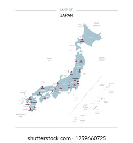Japan vector map. Editable template with regions, cities, red pins and blue surface on white background.