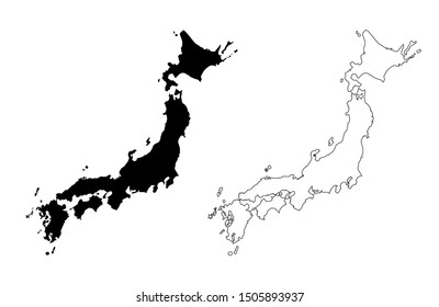 Japan Vector Map Silhouette and Outline isolated on white background