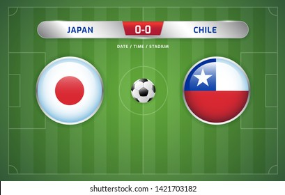 Japan vs Chile scoreboard broadcast template for sport soccer south america's tournament 2019 group C and football championship vector illustration