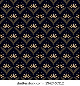 Japan wave pattern ditzy floral motif. Ardent yellow tiny flowers, green leaves on a navy blue all over design. Print block for fabric, apparel textile, wrapping paper. Minimal oriental vector graphic