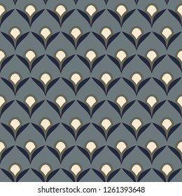 Japan wave pattern oriental allover design. Simple geometric wavy motif. Silver fish scales seamless vector ornament. Half circles print block for apparel textile, dress fabric, garment, phone case.