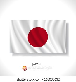 Japan waving flag isolated against white background, vector illustration
