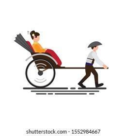 japan women wear kimono riding traditional rickshaw, two wheeled cart to transport people flat illustration vector