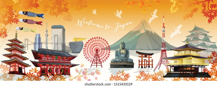Japan of world famous landmarks in autumn season  for traveling , popular tourist attraction ,and for postcard tour advertising