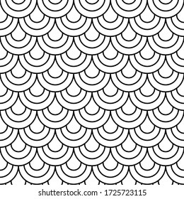 Japane secircle wave seamless pattern. Fish, mermaid, dragon, snake, scallop scales. Tail scale pattern. Minimal background, abstract texture. Seamless background. Vector illustration.