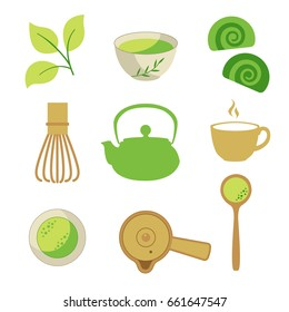 Japaneese ethnic and national tea ceremony. Matcha icons set. Traditions of teatime. Decorative elements for your design. Vector Illustration with party symbols on white background.
