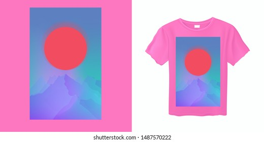 Japanese Aesthetic Vaporwave Pink T-shirt Print Template with Sun and Mountains: 90s 80s Retro Cartoon Style like in Synthwave/ Retrowave Video Arcade Games.