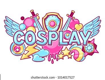 Japanese anime cosplay print. Cute kawaii characters and items.