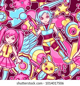 Japanese anime cosplay seamless pattern. Cute kawaii characters and items.