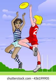 Japanese (anime, manga) cartoon style drawn isolated illustration of two sporty boys playing Australian rules football (vector) Australia, aussie, footy