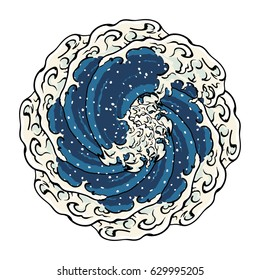 Japanese Art Ocean Wave Graphic Spiral Whirlpool Vector Art Design Illustration