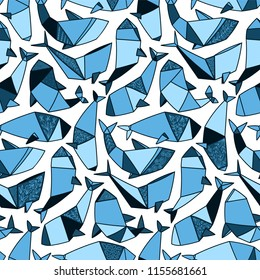 Japanese art of Origami. Whales seamless pattern for your design project, wallpaper, textile fabric or wrapping paper.