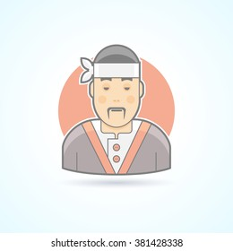 Japanese and Asian cook, sushi master, traditional cuisine icon. Avatar and person illustration. Flat colored outlined style. Vector illustration.