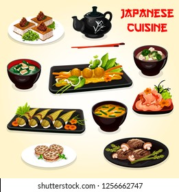 Japanese and asian cuisine vector dishes. Nigiri sushi, pork and octopus balls with baked vegetable, lotus root and meat, fried tofu and miso soups with eggs, seaweed, broccoli and cauliflower veggies