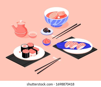 Japanese Asian Food. Flat Isometric Vector Illustration. Sushi poster design.
