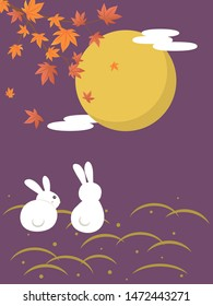 Japanese autumn festival to enjoy the moon on the night of August 15th, on the Chinese calendar. vector illustration.