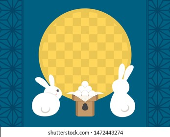 Japanese autumn festival to enjoy the moon on the night of August 15th, on the Chinese calendar. vector frame illustration.