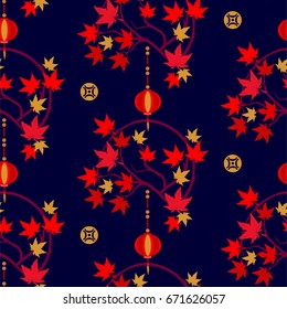 Japanese autumn seamless pattern with lantern and red maple leaf.