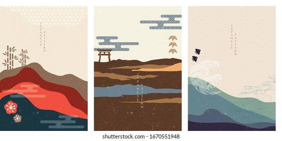 Japanese background with Asian icons vector. Wave, bamboo, birds and cherry blossom flower elements in vintage style. Landscape and mountain wallpaper.