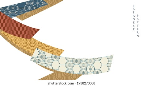 Japanese background with Asian vintage pattern vector. Abstract art ribbon elements. Hand drawn wave pattern with geometric banner in vintage style.