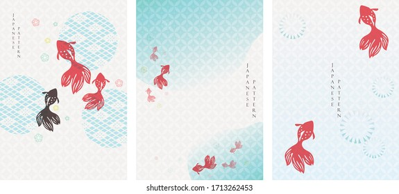 Japanese background with gold fish vector. Asian pattern with icon elements. Water and river template in vintage style.