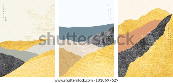 Japanese background with gold foil texture vector. Abstract landscape template with hand drawn wave pattern in oriental style.