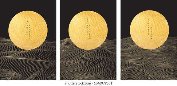 Japanese background with Gold texture in circle shape vector. Moon and sun with abstract line pattern. Template design.