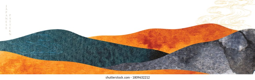 Japanese background with hand drawn wave vector. Abstract template with watercolor texture. Mountain layout design in oriental style.