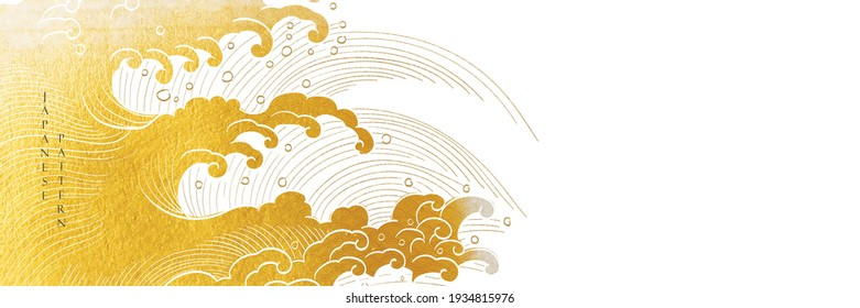 Japanese background with hand drawn wave line vector. Gold texture in vintage style. Presentation template design, poster, cd cover, flyer, website backgrounds, banner or advertising.