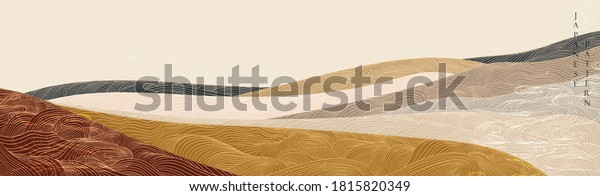 Japanese background with hand drawn wave vector. Abstract template with line pattern. Mountain layout design in oriental style.