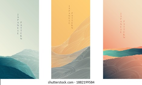 Japanese background with line pattern vector. Abstract elements with art landscape template. Ocean sea banner in orient Alstyle.