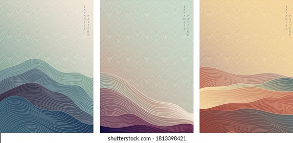 Japanese background with line wave pattern vector. Abstract template with geometric pattern. Mountain layout design in oriental style.  - Shutterstock ID 1813398421