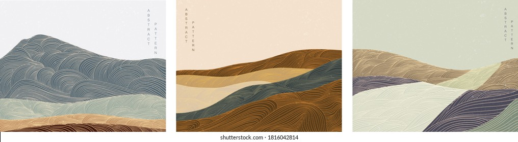 Japanese background with line wave pattern vector. Abstract banner. Mountain layout design in oriental style.