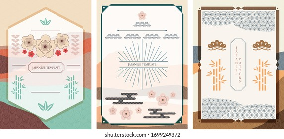 Japanese background and template vector. Asian traditional icons. Cherry blossom flower, bonsai, bamboo, cloud and geometric elements in vintage style.