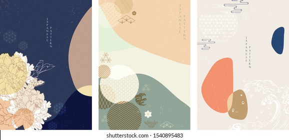 Japanese background vector. Asian icons and symbols. Oriental traditional poster design. Abstract pattern and template. Peony flower, wave, sea,  bamboo, pine tree and sun elements.