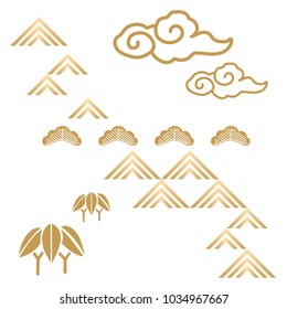 Japanese background vector. Cloud, tree, bamboo icons in Traditional of Japan style.