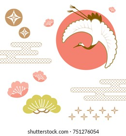 Japanese background vector. crane bird icon and bonsai, cherry blossom flower, wave element for decoration on wallpaper, fabric textile, cover page, template, postcard, poster.