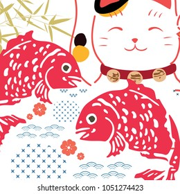 Japanese background vector. The maneki-neko (beckoning cat) is a common Japanese figurine lucky charm, talisman which is often believed to bring good luck to the owner. Cat, fish, bamboo, wave element
