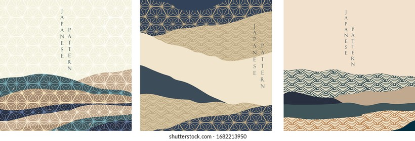 Japanese background with Japanese wave pattern vector. Landscape and mountain with geometric template design in vintage style.