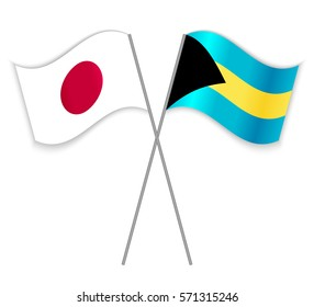 Japanese and Bahamian crossed flags. Japan combined with Bahamas isolated on white. Language learning, international business or travel concept.
