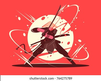 Japanese battle samurai with katana. National martial arts. Vector illustration