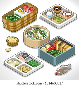 Japanese bento box set with rice, vegetables, fish, lotus, sandwich; including soy sauce fish and crackers (isometric vector)