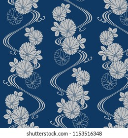 Japanese blue chrysanthemum pattern
