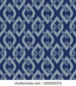 Japanese Blue Diamond Square Seamless Pattern