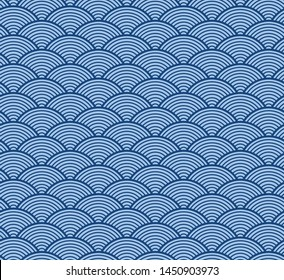 Japanese blue sea wave seamless pattern