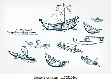 japanese boats ship sketch vector  illustration ink design elements