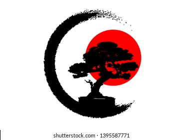 Japanese bonsai tree logo, black plant silhouette icons on white background, green ecology silhouette of bonsai and red sunset. Detailed image. Bio nature concept. Japanese flag icon. Vector isolated