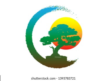 Japanese bonsai tree logo, plant silhouette icons on white background, green ecology silhouette of bonsai and sunset. Detailed image. Bio nature concept. Vector isolated