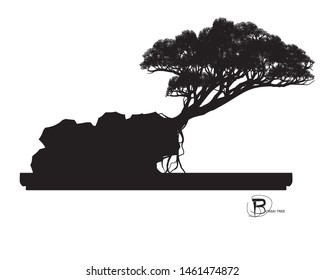Japanese bonsai tree , plant silhouette icons on white background, Black silhouette of bonsai. Detailed image,Vector. mini trees.